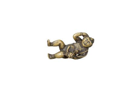 明 銅雕持蓮童子