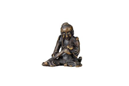 明 銅雕如意童子