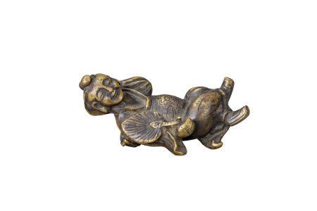 明 銅雕持扇童子