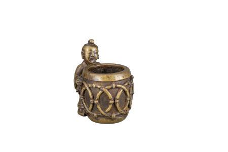 明 銅雕抱鼓童子香爐