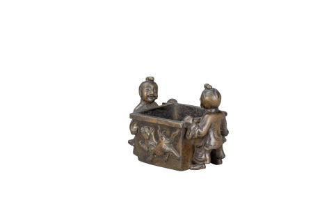 明 雙童方形銅爐