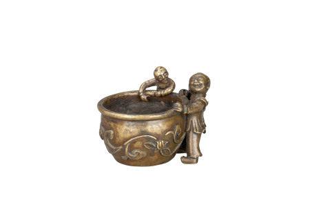 明 雙童戲缸銅爐