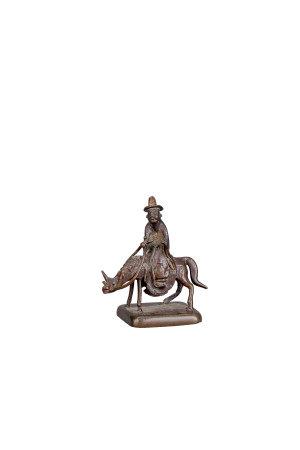 明 銅雕高士騎驢印章