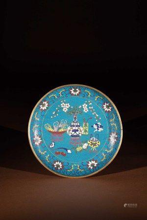 清 銅胎掐絲琺瑯西番蓮紋盤