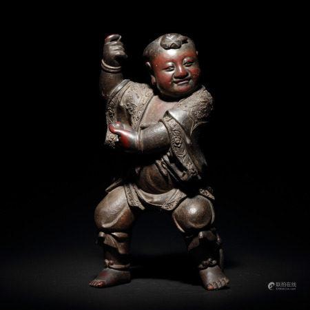 明 木雕漆金童子像