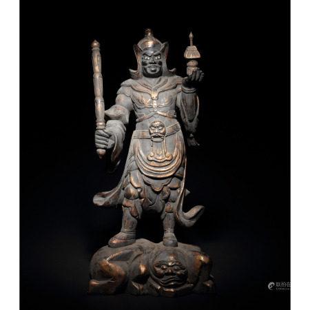 十六至十七世紀 木雕漆金天王像