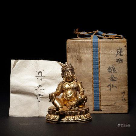 清十八世紀 銅鎏金黃財神像
