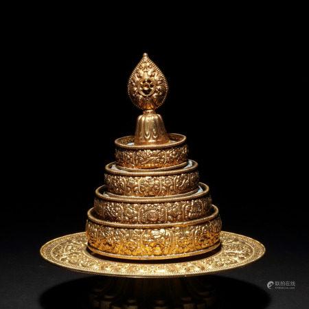 藏傳佛教 純銀鎏金曼扎