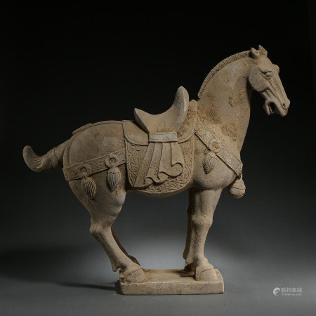 TANG DYNASTY, CHINESE STONE CARVING HORSE