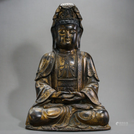 MING DYNASTY, CHINESE GILT BRONZE GUANYIN STATUE
