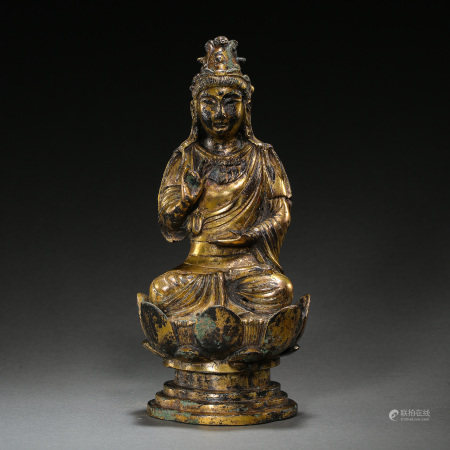 LIAO OR JIN PERIODS, CHINESE SEATED GILT BRONZE BUDDHA STATUE