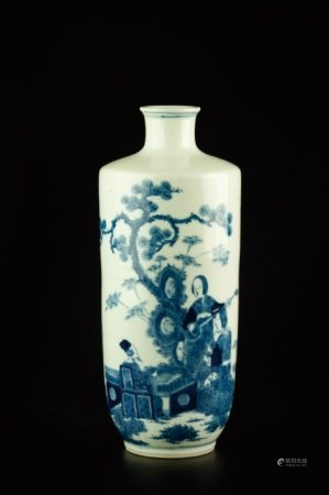 A BLUE AND WHITE FIGURE VASE
