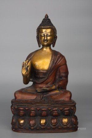 LATE QING DYNASTY BRASS BUDDHA FIGURE STATUE