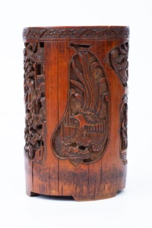 WRITING BRUSH HOLDER CARVED WITH EIGHTEEN ARHATS