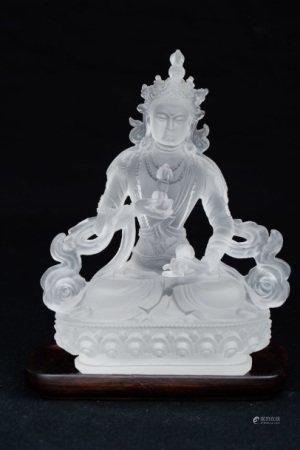 A CRYSTAL TIBETAN BUDDHA