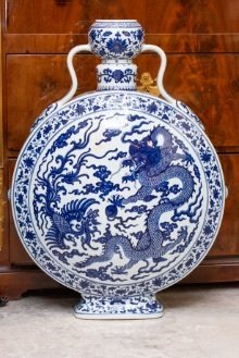 20TH CENTURY BLUE AND WHITE MOONFLASK