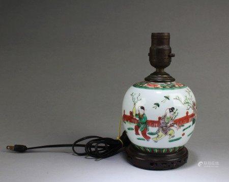 A Famille Verte Porcelain Table Lamp Holder