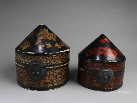 A Group of Two Leather Wrapped Cone Shaped Boxes