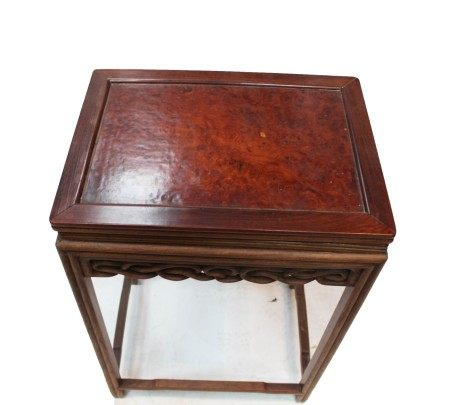 Chinese Hardwood Flower Stand with Burl Wood Top
