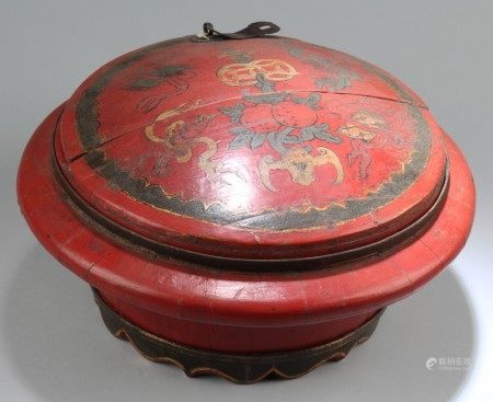 Antique Chinese Wooden Round Container
