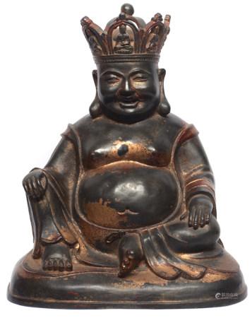 銅漆金寶冠彌勒佛