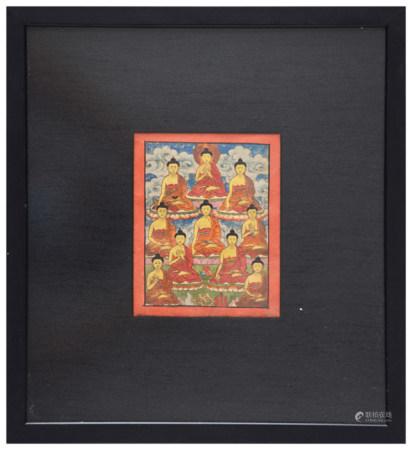 西藏 硬木鑲唐卡鏡架