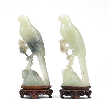 Grp: 2 Carved Chinese Hardstone Birds w/ Stands