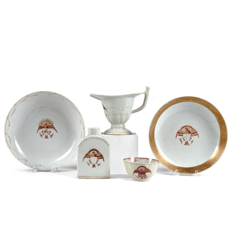 Grp: Rare Chinese Export Porcelain Eagle Decorated Dishes