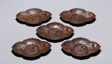 SET OF CHINESE BRONZE FLOWER PLATE