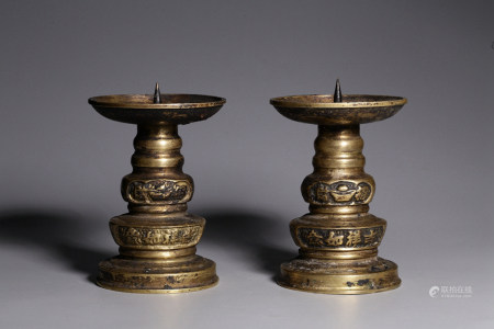 PAIR OF CHINESE BRONZE CANDEL STAND