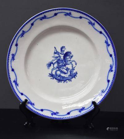 Assiette en porcelaine de tournai à décor de Saint Georges.