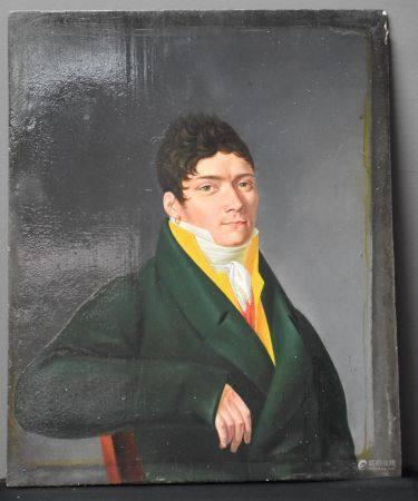 Portrait d'homme de qualité . Ecole française vers 1820. Huile sur panneau . 24 x 31 cm.