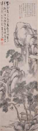 A CHINESE PAINTING HANDSCROLL OF LANDSCAPE