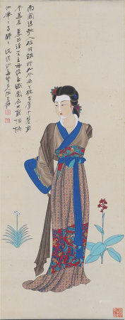 A CHINESE PAINTING HANGING SCROLL OF LADY
