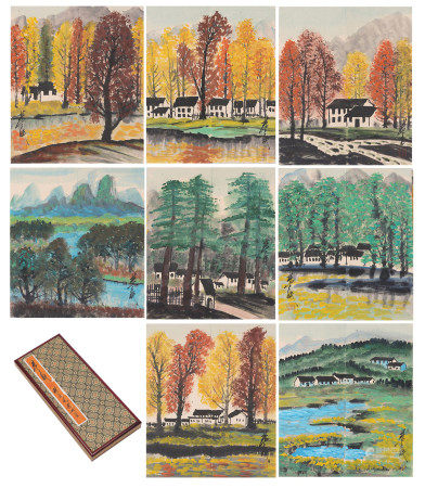 A CHINESE PAINTING ALBUM OF LANDSCAPES