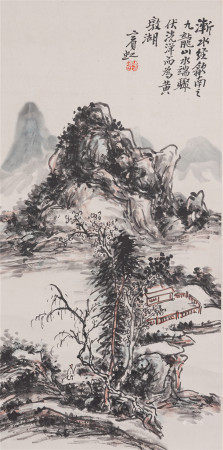 A CHINESE PAINTING HANGING SCROLL OF LANDSCAPE