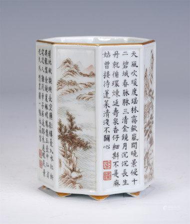 A CHINESE MO-CAI GLAZED OCTAGONAL PORCELAIN BRUSH POT