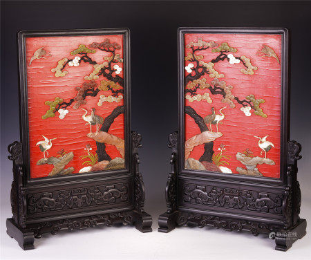 A PAIR OF CHINESE CARVED HARDWOOD TABLE SCREENS