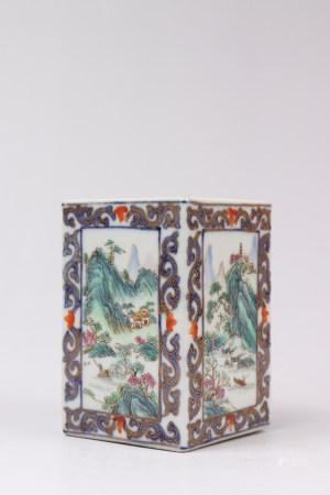 """Chinese Doucai Porcelain """"Landscape"""" Square Bottle"""