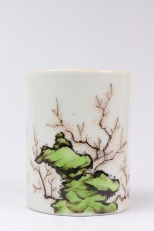 """Chinese Famille Rose """"Flower"""" Porcelain Brush Pot"""