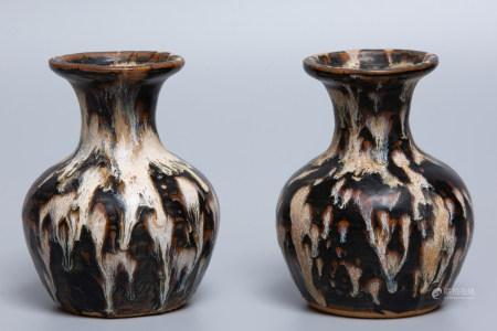 Chinese Pair Of Jizhou Kiln Porcelain Bottles
