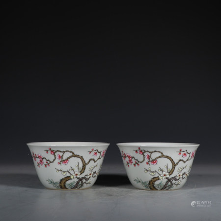 """Chinese Pair Of Famille Rose """"Flower"""" Bowls"""