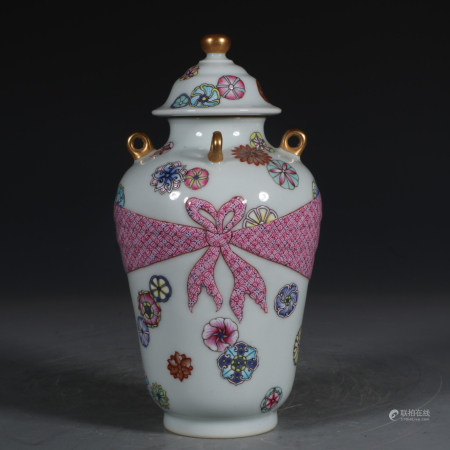 Chinese Famille Rose Gold Painted Porcelain Cover Jar