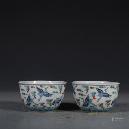 Chinese Pair Of Doucai Porcelain Cups