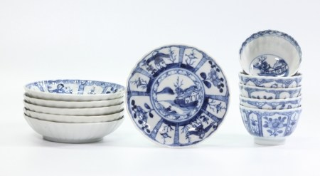 Chinese 18C Blue White Porcelains 5 Teacup 6 Plate