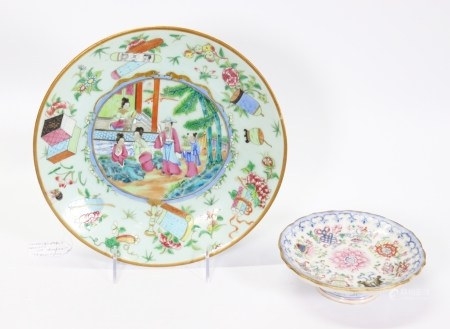 2 Fine Chinese 19 C Famille Rose Porcelain Plates
