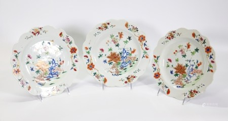 3 Chinese Early 18 C Rose Porcelain Garden Plates