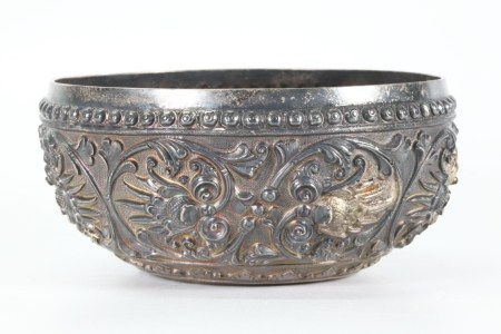India S E Asian Silver Floral Repousse Bowl