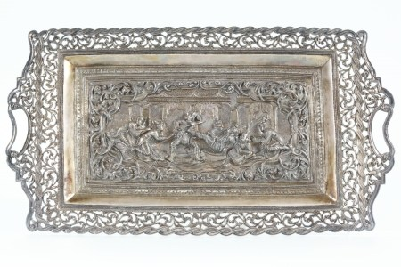 South East Asian Silver Visiting Card Tray