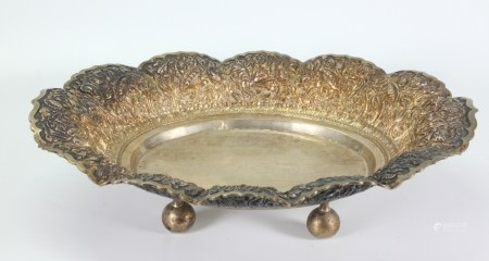 South East Asian Silver Oval Bread Tray 560G